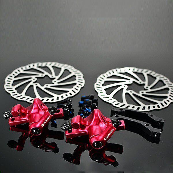 BENGAL Mechanical Disc Brake Set F&R 160 mm , Red