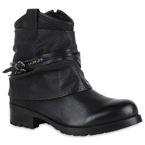 Damen Klassische Stiefeletten Schuhe Boots Leder-Optik 819705 Top
