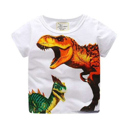 Toddler Kids Baby Boys Dinosaur Print Clothes Short Sleeve Tops T-Shirt Blouse
