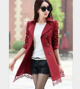 b838b53510a Autumn Women Long Plaid Lace OL Outwear Coat Jacket Blazer Trench ...