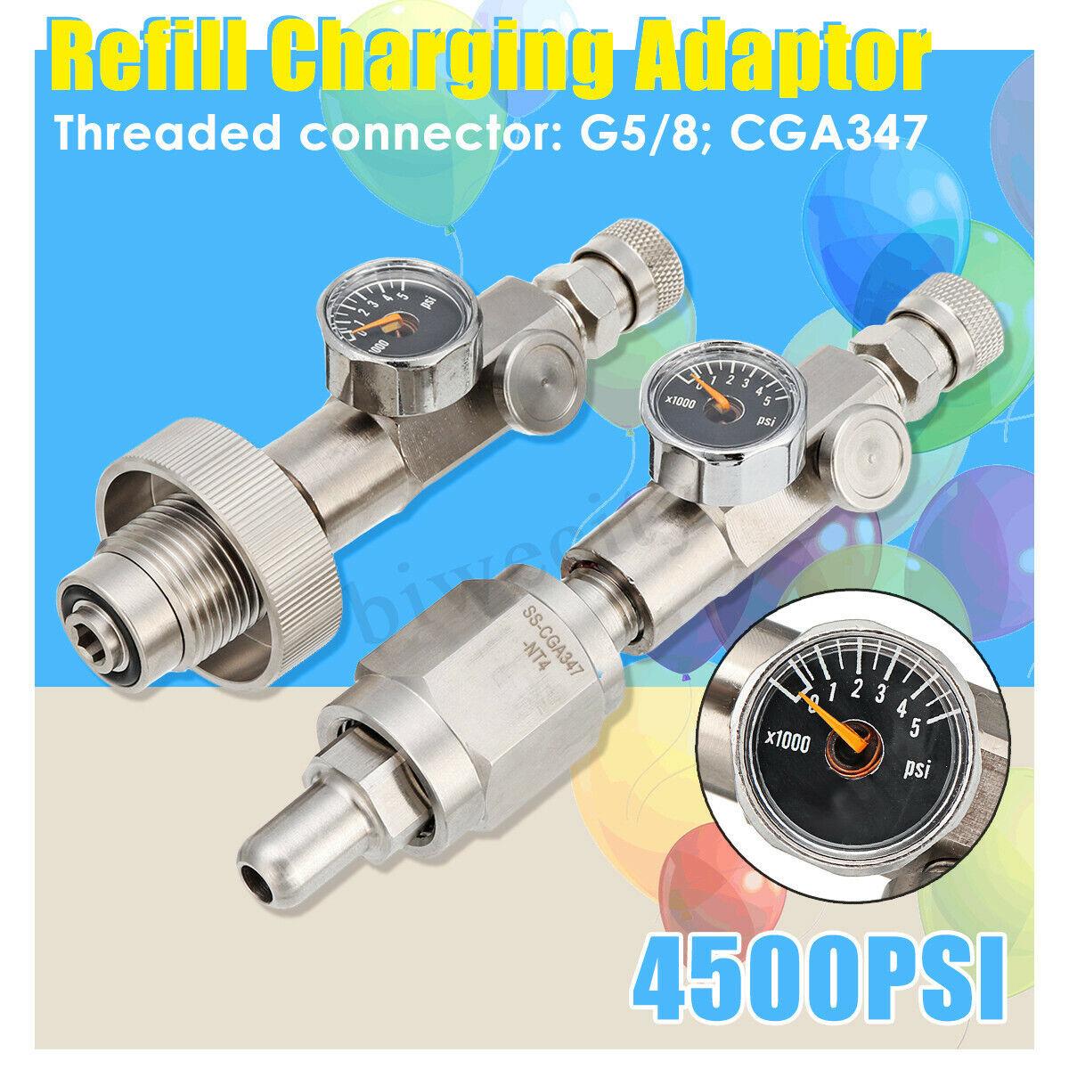 G5 8 CGA347 4500PSI Filling Refill Charging Adaptor Congreener W  Pressure Gauge