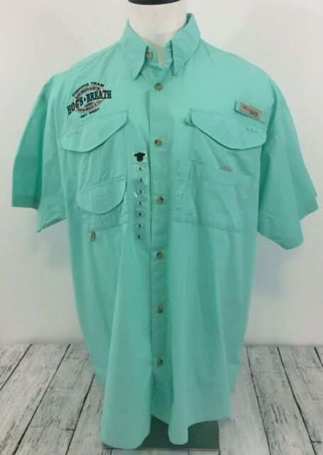 NEW Columbia Mens Bonehead Short Sleeve Fishing Shirt Gulf Stream Large