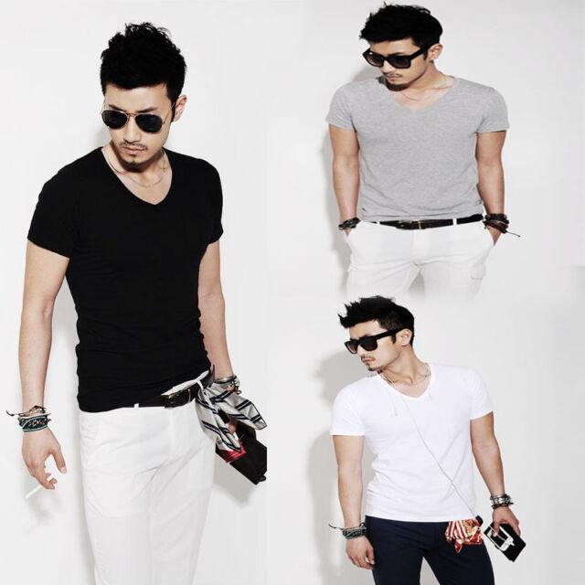 New Fashion Men Slim Fit Cotton V-Neck Short Sleeve Casual T-Shirt Tops hot No.1
