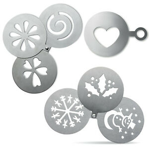 Image Is Loading Stainless Steel Coffee Stencils Xmas Christmas Holly Snowflake