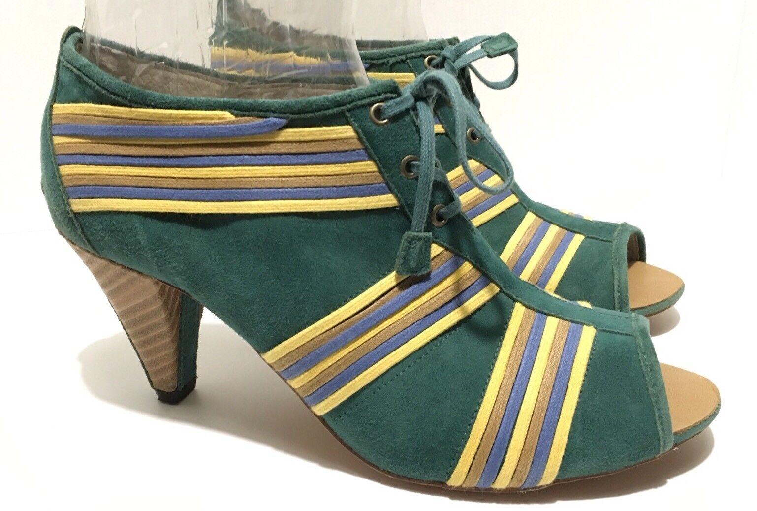 Anthropologie J Jaywalk 8 1/2 Green Shoes Peep Booties Heels Blue St. Patrick's