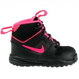 Nike Hills Mid Toddlers 685623-002 Black Pink Boots Shoes Baby Girls ... 9fa553be0