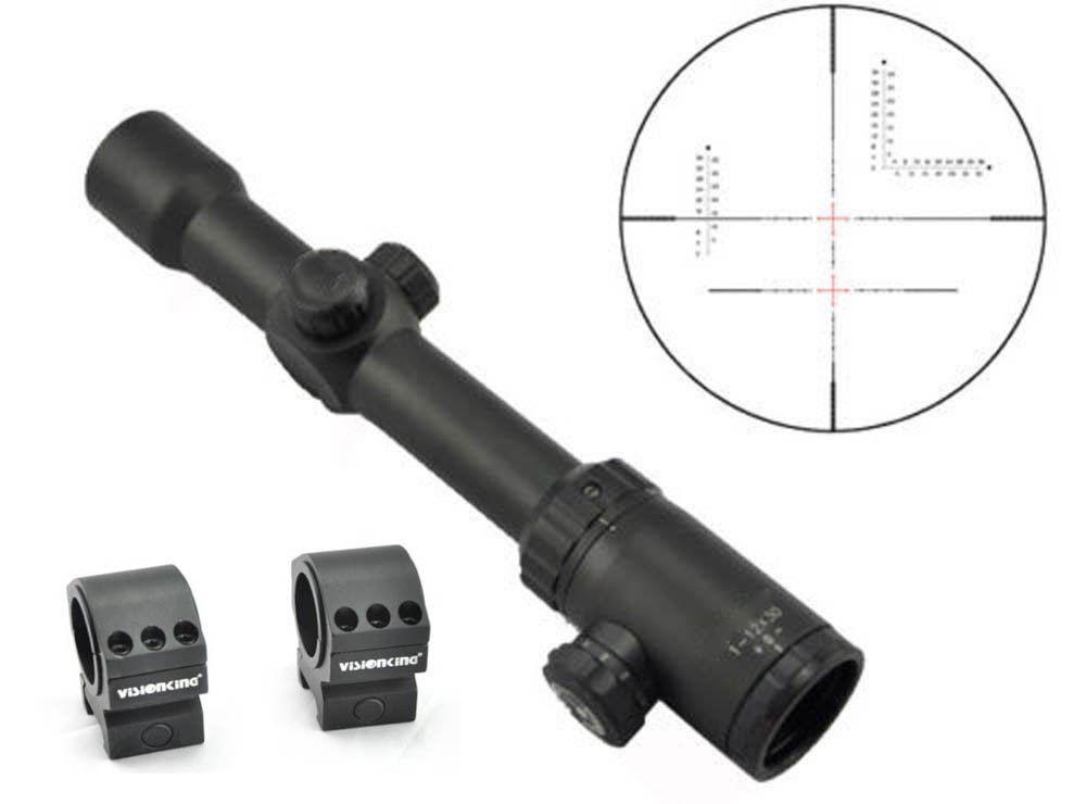 Visionking 1-12x30  Tactical miras telescópicas Mil Dot Mira para rifle 30mm anillos de alcance  sorteos de estadio