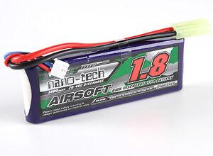 New Turnigy nano-tech 1800mah 2S 20C 40C 7.4V Lipo Battery Airsoft Pack US 1