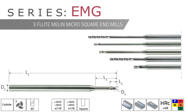 ".070/"" Square End 5XD Long Flute 3 Flute AlTiN Melin Carbide End Mill"