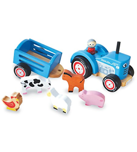 Indigo-Jamm-Tractor-Tim-Retro-Wooden-Toy-Vehicle-and-Detachable-Trailer-with