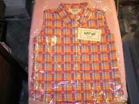 Krazy Kat Girls Sleeveless Shirt Plaid Orange Cowgirl Rodeo