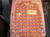 Krazy Kat Girls Sleeveless Shirt Plaid Orange Cowgirl Rodeo