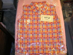 Krazy-Kat-Girls-Sleeveless-Shirt-Large-Plaid-Orange-Cowgirl-Rodeo