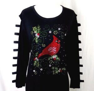 PLUS-3X-Tunic-Top-Hand-Embellished-Rhinestone-Christmas-Cardinal-Bird-Holly