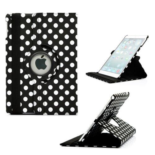 360° Rotating Polka Dot Leather Stand Case Cover Apple Mini1//2//3,iPad2//3//4,Air1