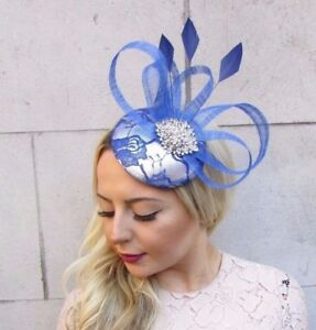 Image Is Loading Royal Cobalt Blue Silver Feather Pillbox Hat Fascinator