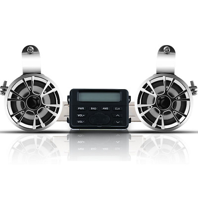 Waterproof Motorcycle ATV UTV Bike Audio System Handlebar FM Radio iPod Stereo