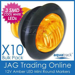 10 x 12V 3-SMD LED AMBER ROUND CLEARANCE MARKER LAMP PILOT LIGHT - Truck/Trailer