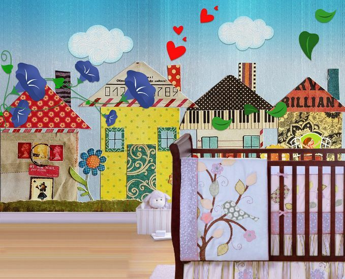 3D Farbige Cartoon-Haus 325 Fototapeten Wandbild Fototapete BildTapete Familie