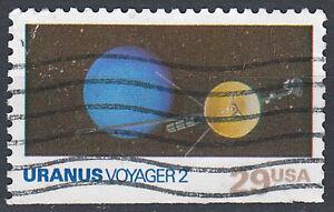 USA-Briefmarke-gestempelt-29c-Uranus-Voyager-2-Weltraum-aus-Markenheft-131