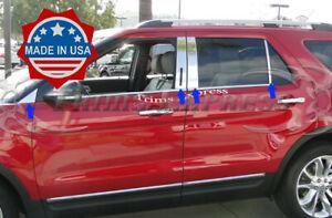 2011-2019-Ford-Explorer-8Pc-Chrome-Stainless-Steel-Pillar-Post-Trim-w-Cutout