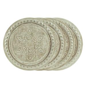 Teller-Metall-35-5-cm-Beige-Muster-Dekoration-Schale-Kerzenteller