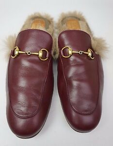 b07a92530dae Image is loading Gucci-Princetown-Burgundy-Leather-Fur-Slippers-Men-039-