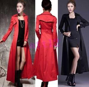coat Womens Jacket petto Slim doppio Long Length Full Belt Fit Europe Trench tdnHxzBtq