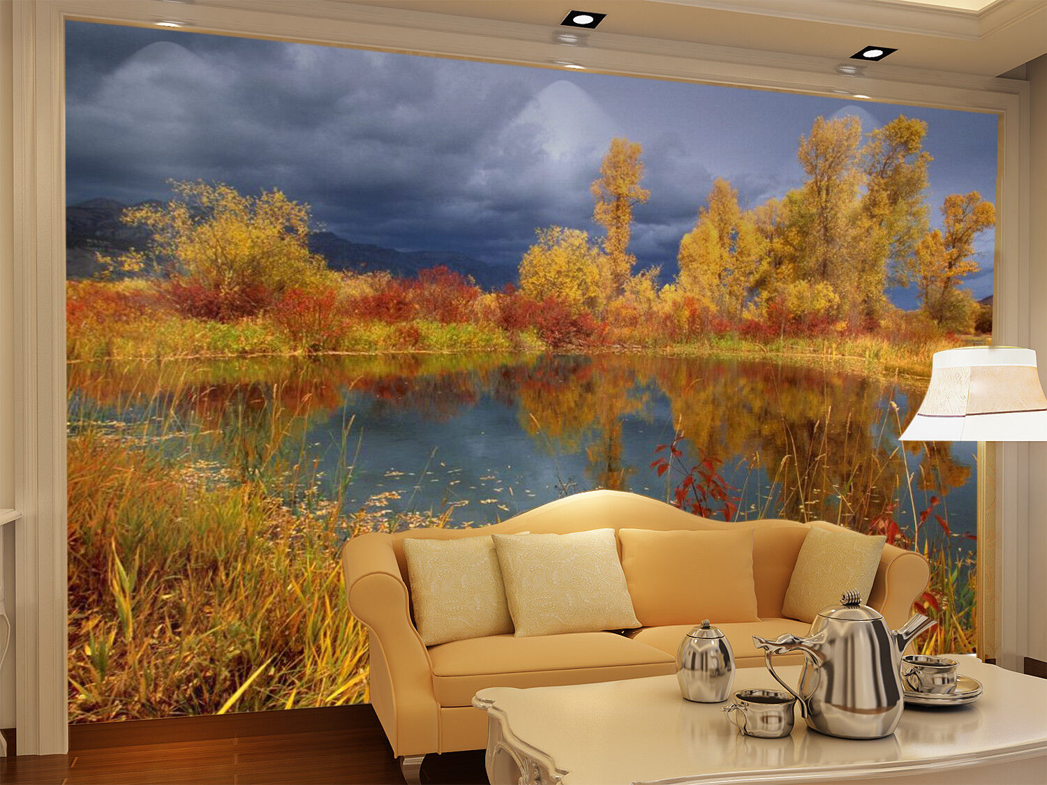 3D golden Shrub Lake 7 Wall Paper Murals Wall Print Wall Wallpaper Mural AU Kyra