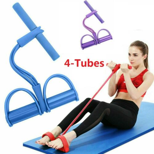 4-Tube Elastic Sit Up Pull Rope Resistance Yoga Exercise Fitness Equipment UK