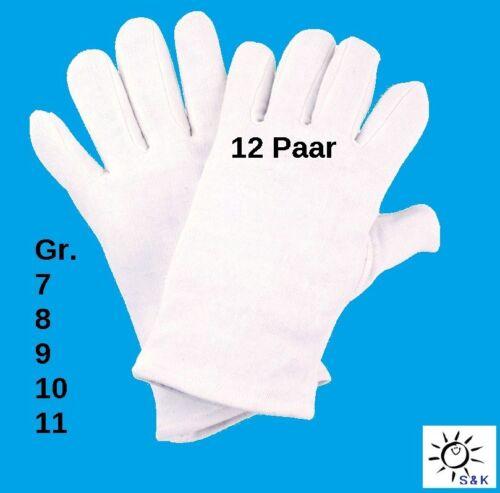 12 Paar NITRAS Baumwollhandschuhe 26 cm Gr 7,8,9,10 11