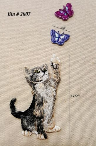 3pc Grey American Shorthair Playful KITTY CAT w// Butterflies IRON ON EMBROIDERED