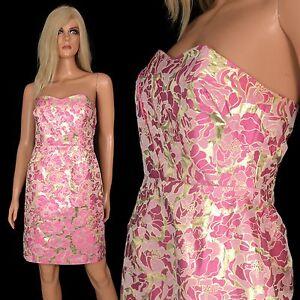 dc2ea4e97b9 Lilly Pulitzer Strapless Cocktail Mini Dress Raya Pink Metallic Gold ...