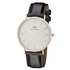 Daniel Wellington Classic Sheffield Rose Gold Black Leather Men's Watch 0107DW