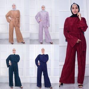 Fashion Muslim Ladies Women Pleated Belted Jumpsuit Wide Leg Romper