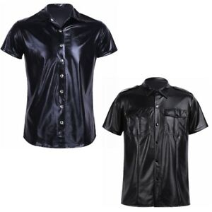 Spandex Men's Police Military Shirt Wetlook Police Uniform Top T-Shirt Costume