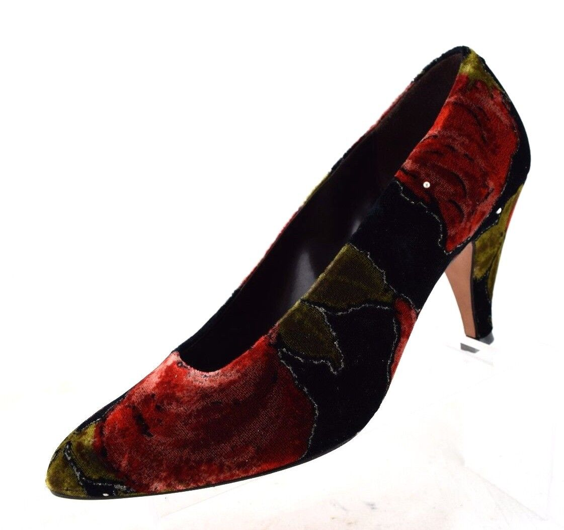 Sesto Meucci Florence Red Green Black Velvet Beaded Heels Pumps  Womens 7 B