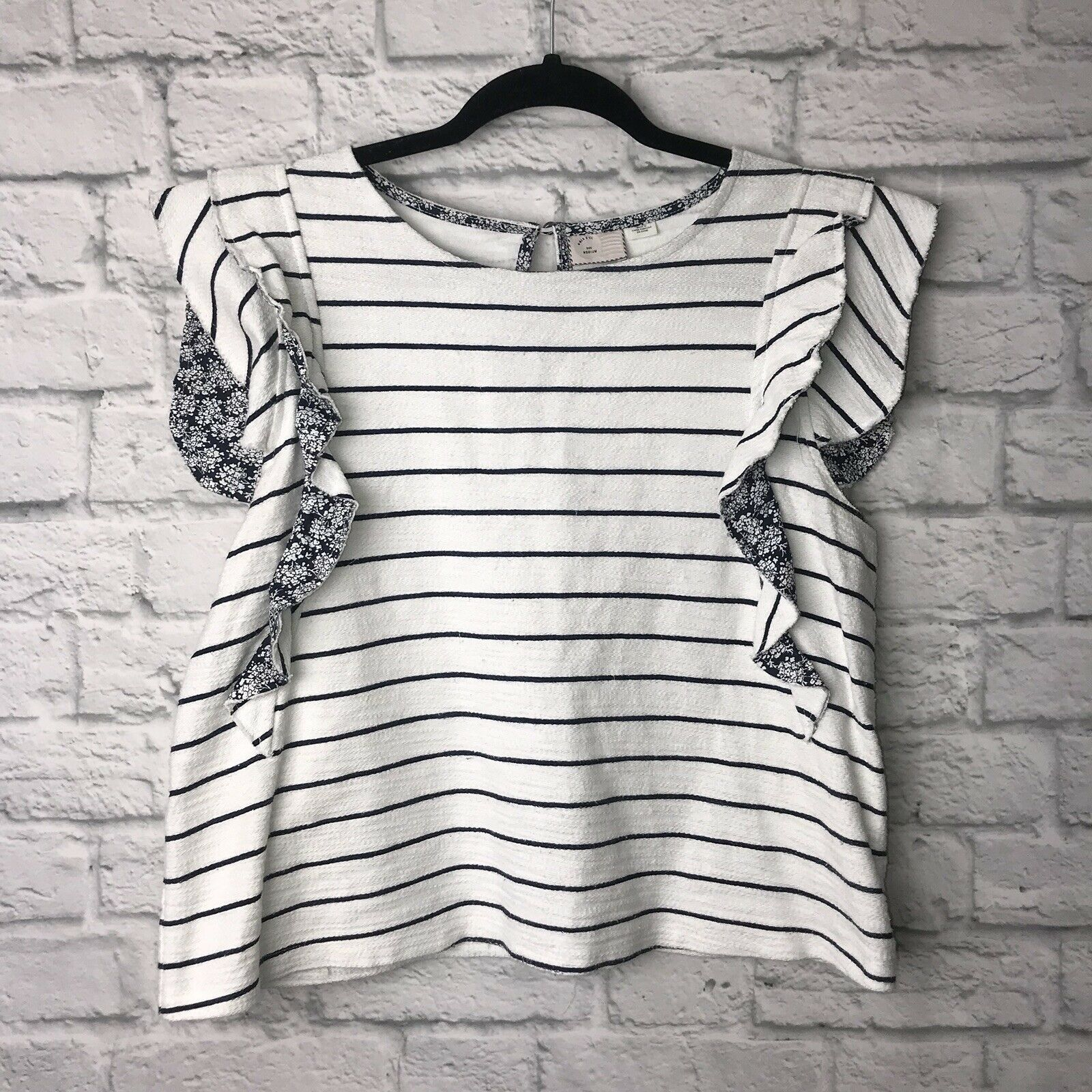 9-h15 stcl Anthropologie Striped Sleeveless Top M