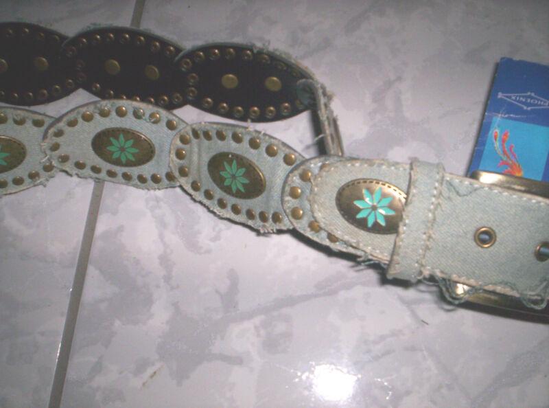 """>>gürtel Aus Jeans-ornamente, Mit Nieten Im """"hippie-style"""" Blau 80 Cm"""