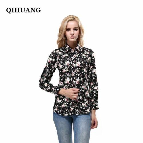 QIHUANG Fashion Brand Women Blouse Shirts 2017 Floral Cotton Turn-down Collar Sh