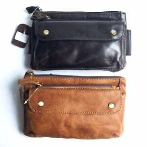 c24dea5463f4 Genuine Leather Waist Bag Portable Men Women Fanny Pack Travel ...
