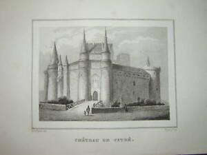 Gravure-miniature-CHATEAU-de-VITRE-BRETAGNE-RENNES-1830