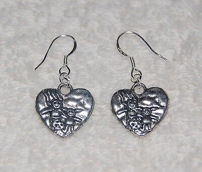 STERLING silver wire Mother Mom Daughter Girl Adoption Heart Dangle Earrings