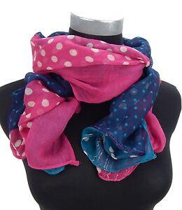 Points-echarpe-petrol-bleu-rose-blanc-Ella-Jonte-Femmes-echarpe-a-pois-viscose-echarpe