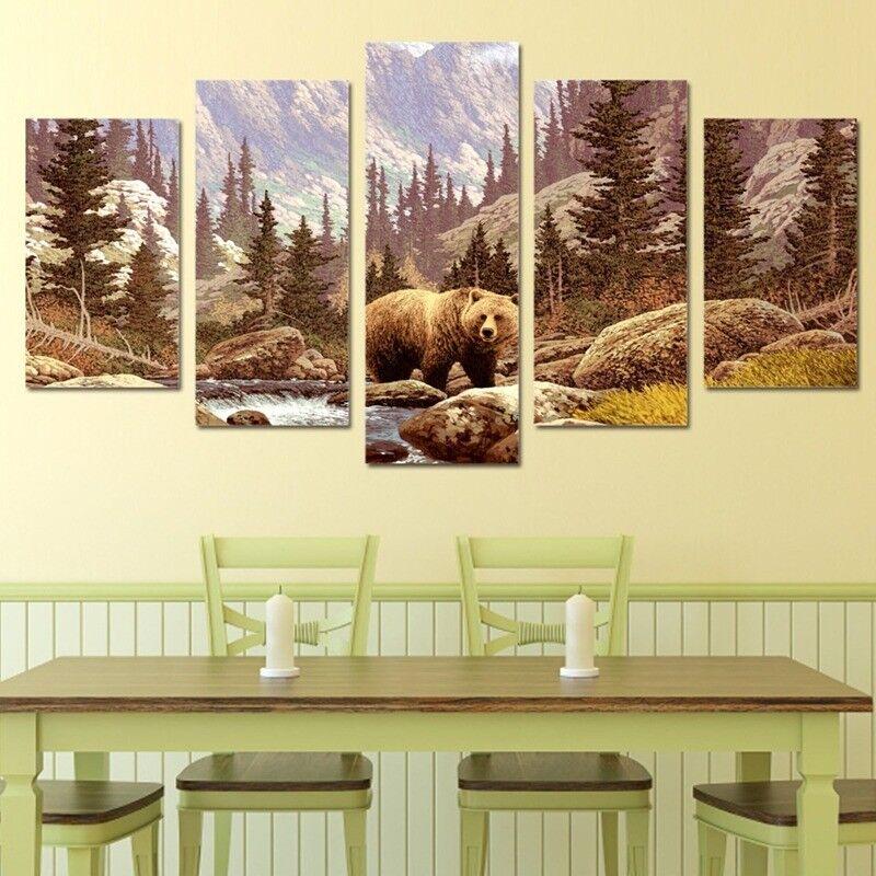 Wildland Forest Bear 5 Panel Canvas Print Wall Art