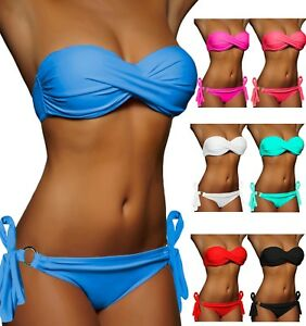 DAMEN NECKHOLDER BIKINI BLAU WEIß ROT PUSH UP SET TOP HOSE PUSHUP Gr XS S M L !