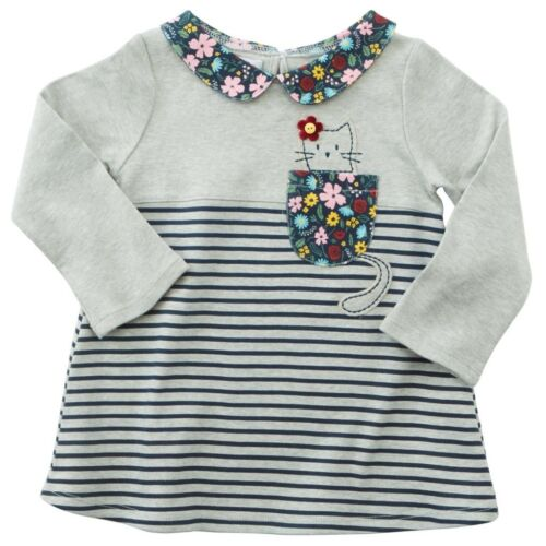Mud Pie H7 Baby Girl Gray And Blue Cat In Pocket Tunic 1152085 Choose Size