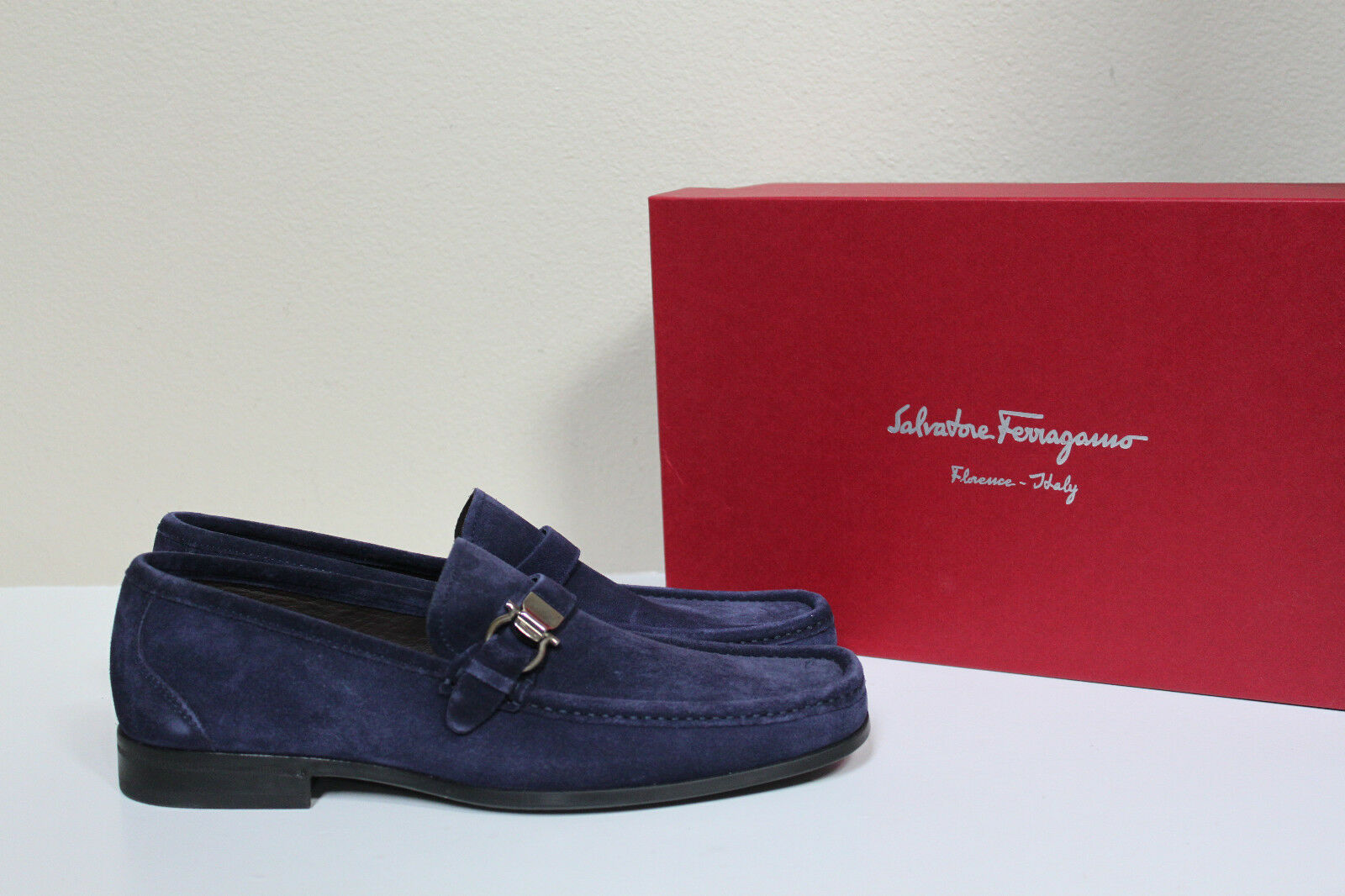New sz 9 9 9 EE 2E SALVATORE FERRAGAMO Muller Logo Navy bluee Suede Loafers Men shoes a753f6