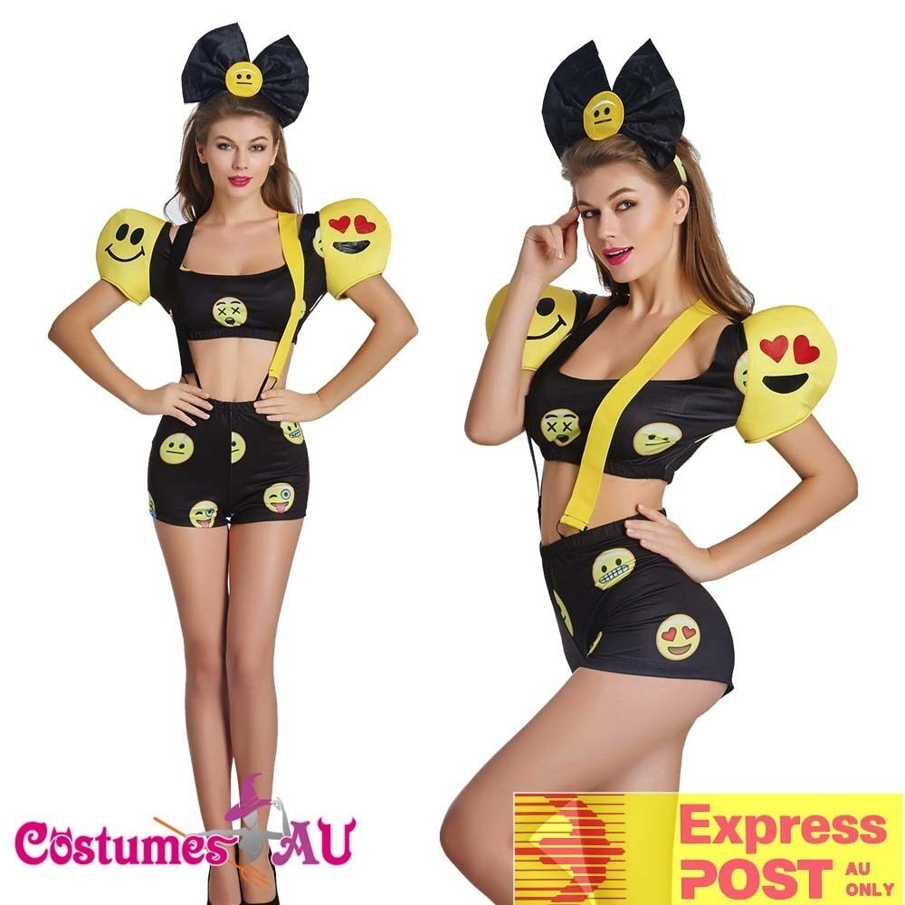 Happy Face Emoji Dress Halloween Party Fancy Dress Costume Outfit