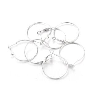 10pcs Real Sterling Silver Ball Earring Posts Hang Loop Ring Platinum Tone 13mm